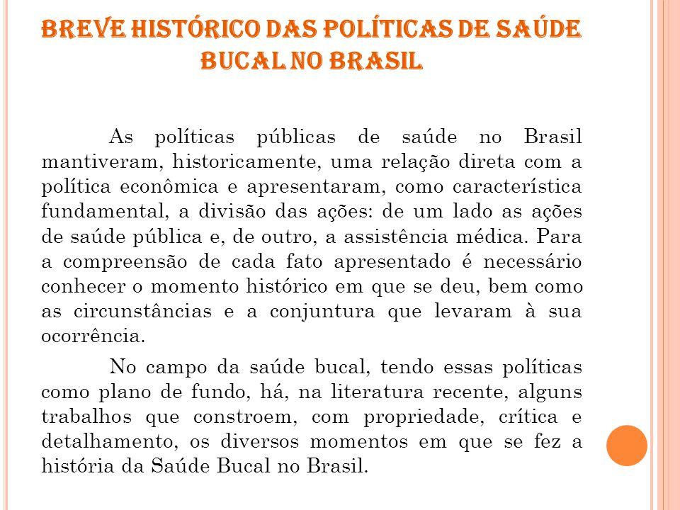 BREVE HISTÓRICO DAS POLÍTICAS DE SAÚDE BUCAL NO BRASIL