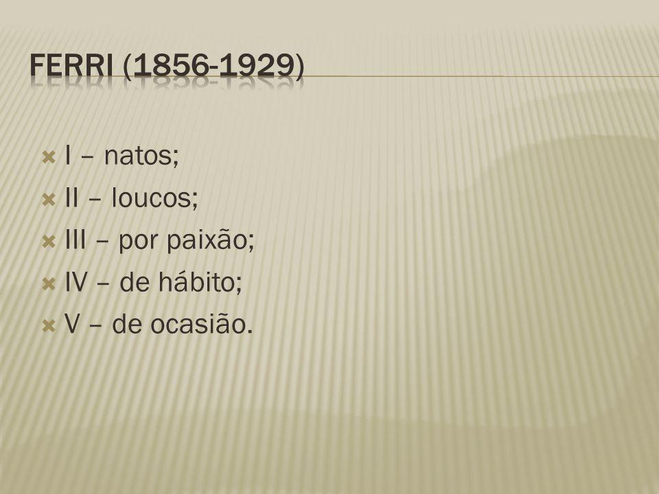 Ferri (1856-1929) I – natos; II – loucos; III – por paixão;