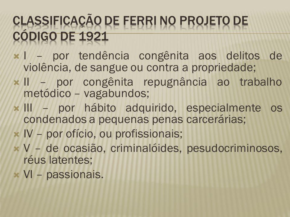 Classificação de Ferri no Projeto de Código de 1921