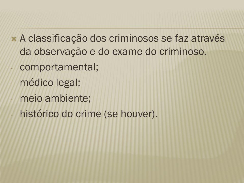 A classificação dos criminosos se faz através da observação e do exame do criminoso.