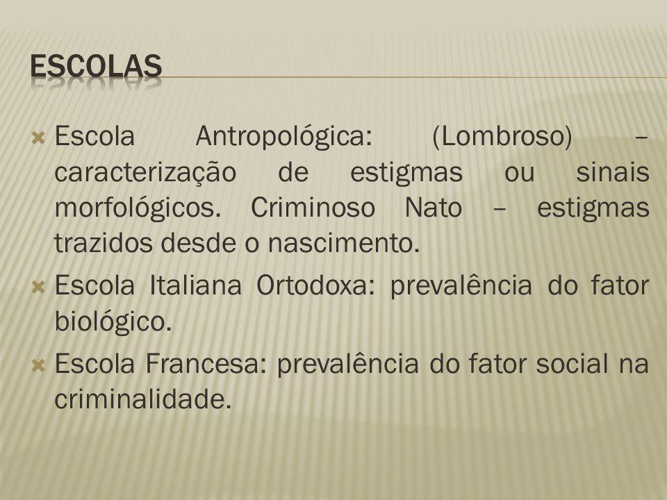 ESCOLAS Escola Antropológica: (Lombroso) – caracterização de estigmas ou sinais morfológicos. Criminoso Nato – estigmas trazidos desde o nascimento.
