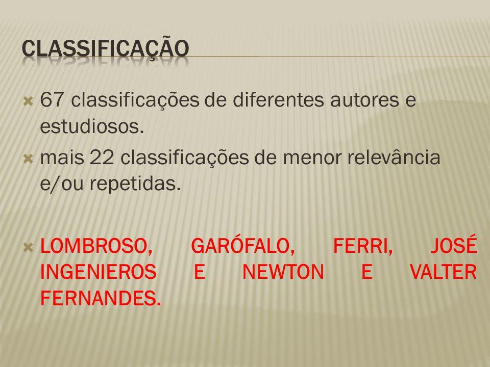 CLASSIFICAÇÃO 67 classificações de diferentes autores e estudiosos.