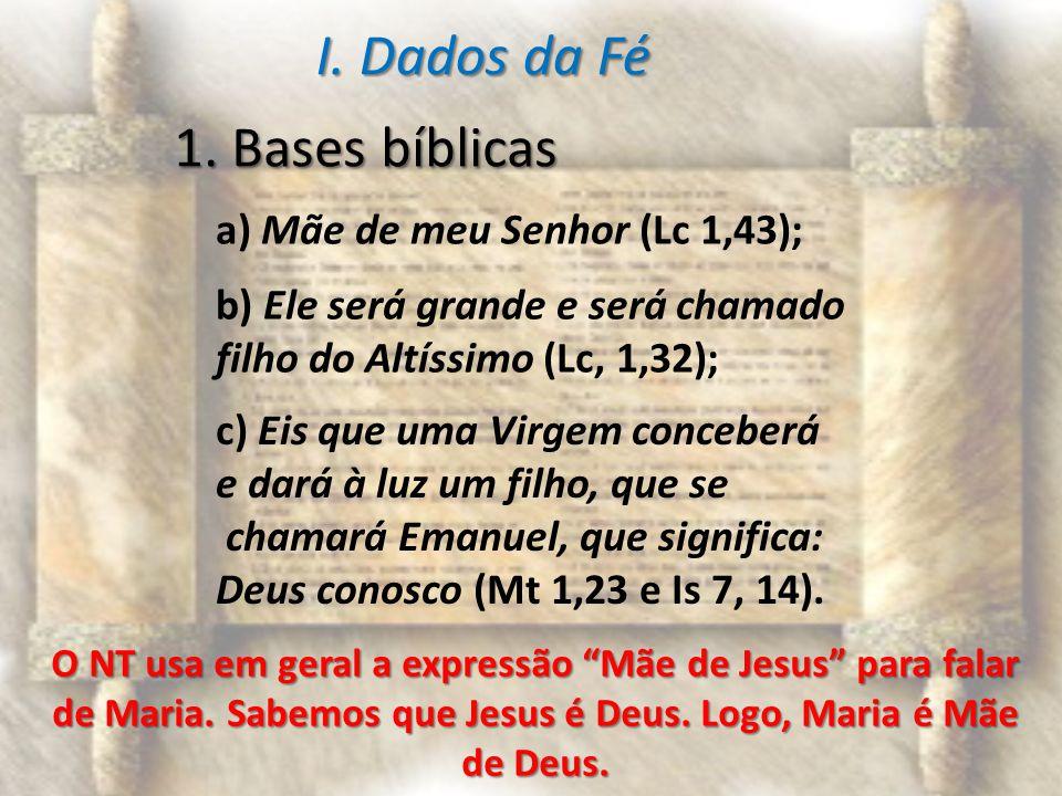 I. Dados da Fé 1. Bases bíblicas a) Mãe de meu Senhor (Lc 1,43);