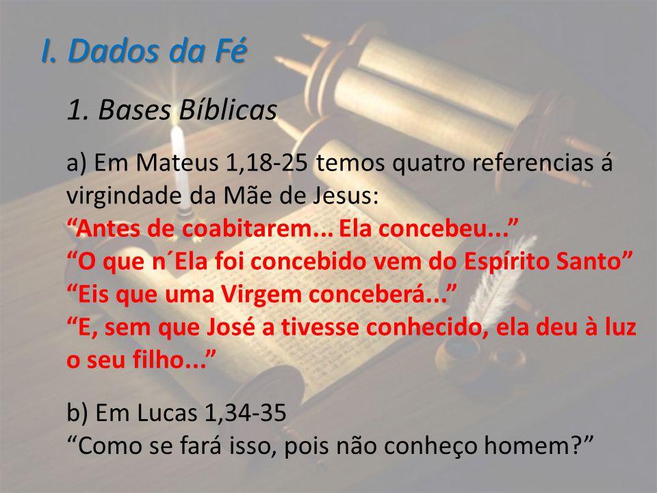 I. Dados da Fé 1. Bases Bíblicas