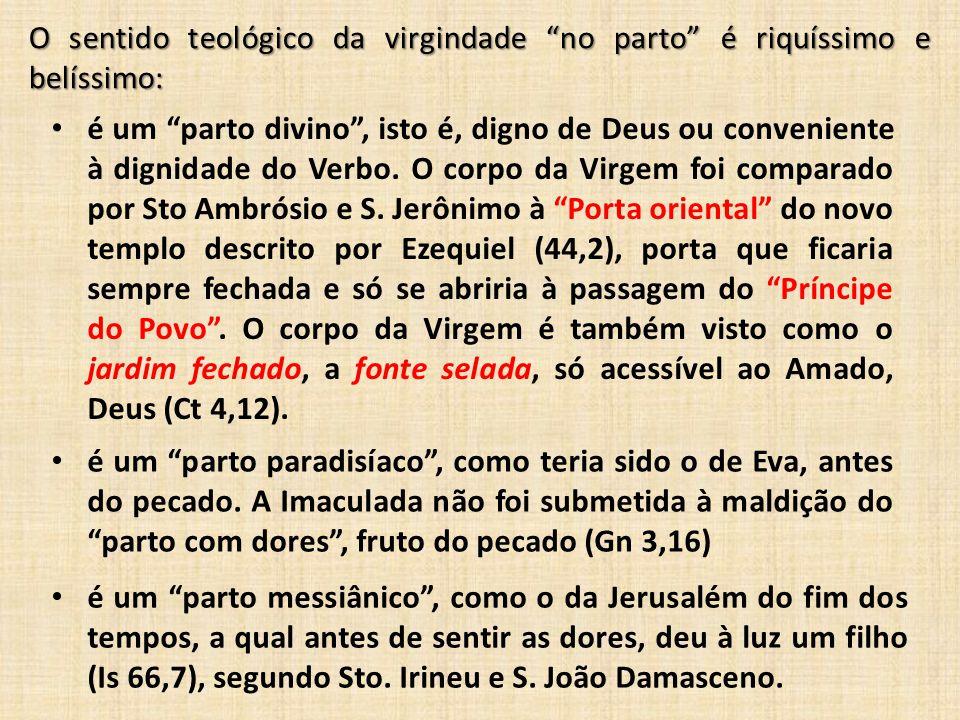 O sentido teológico da virgindade no parto é riquíssimo e belíssimo: