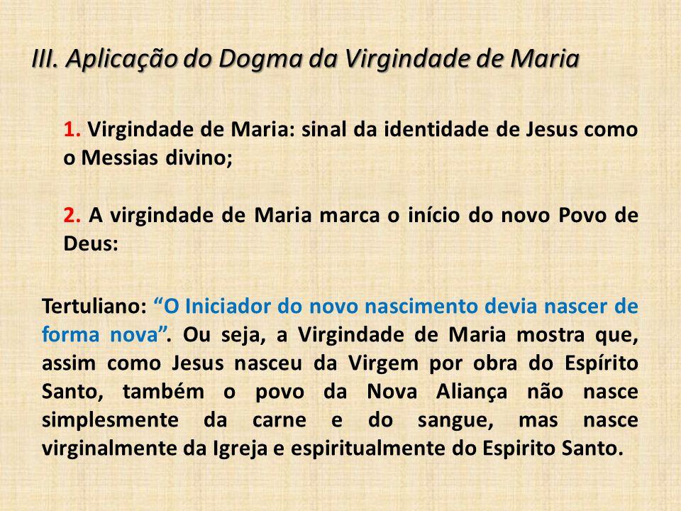 III. Aplicação do Dogma da Virgindade de Maria
