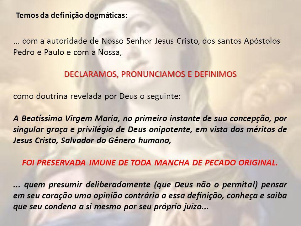 FOI PRESERVADA IMUNE DE TODA MANCHA DE PECADO ORIGINAL.