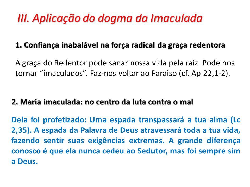III. Aplicação do dogma da Imaculada