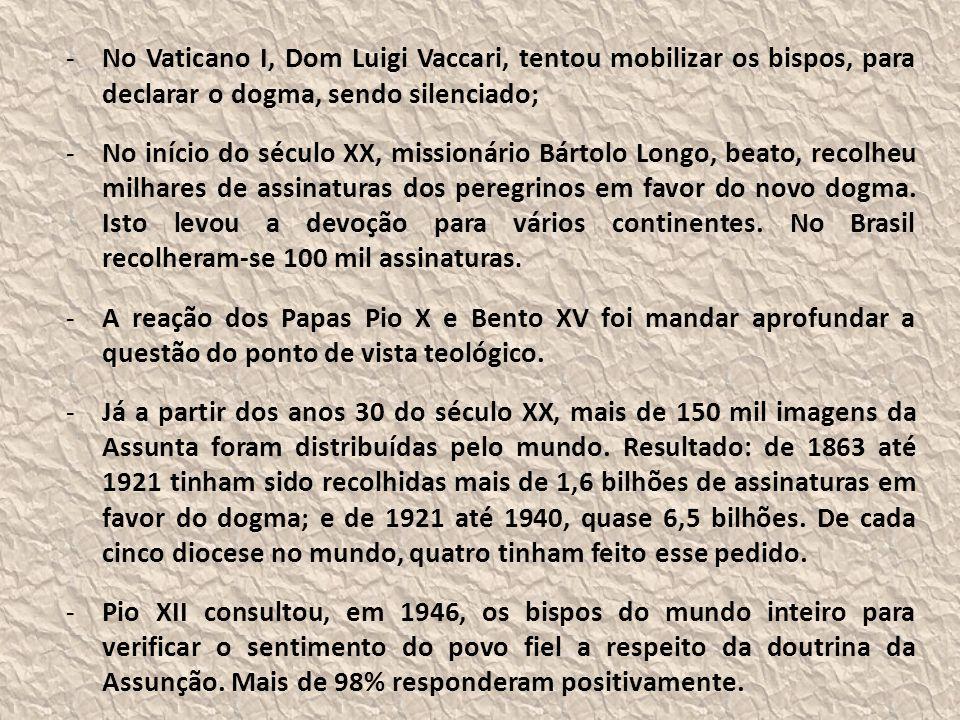 No Vaticano I, Dom Luigi Vaccari, tentou mobilizar os bispos, para declarar o dogma, sendo silenciado;