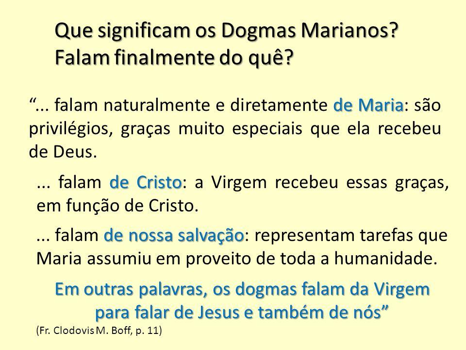 Que significam os Dogmas Marianos Falam finalmente do quê