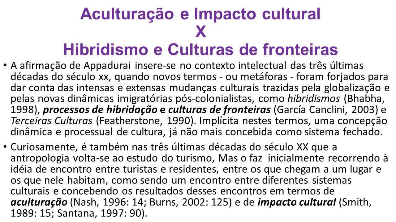 Aculturação e Impacto cultural X Hibridismo e Culturas de fronteiras