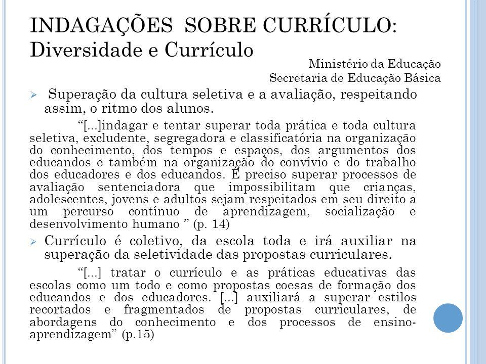 INDAGAÇÕES SOBRE CURRÍCULO: Diversidade e Currículo