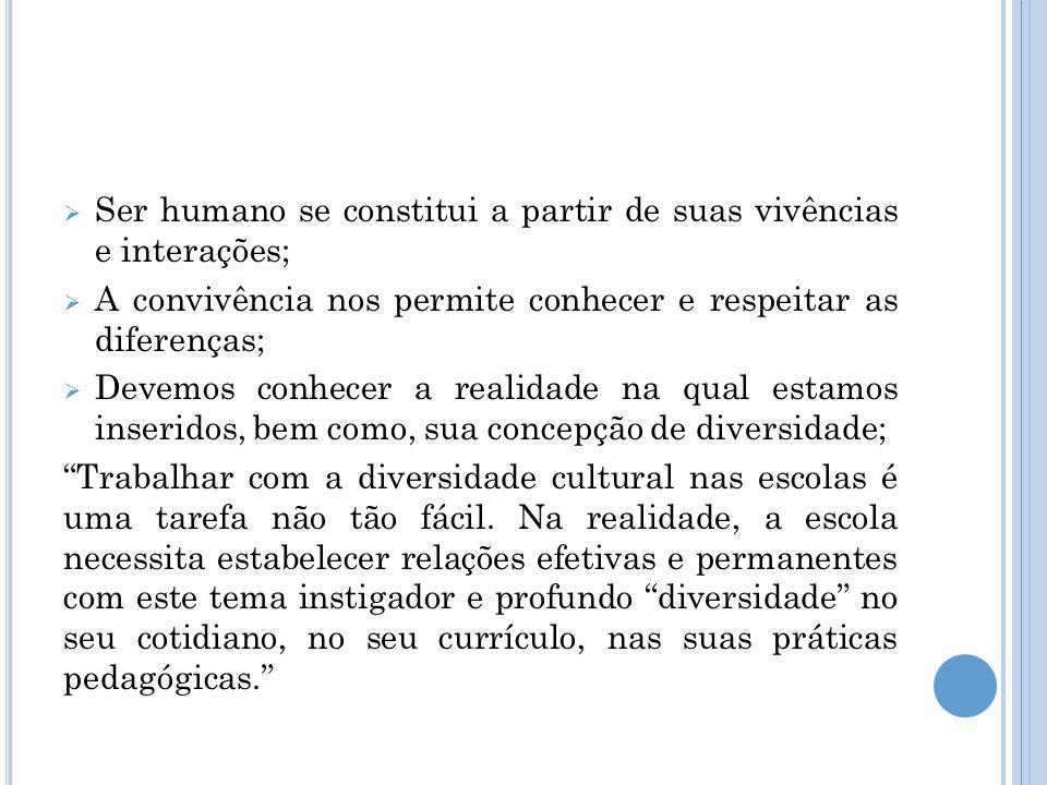 Ser humano se constitui a partir de suas vivências e interações;