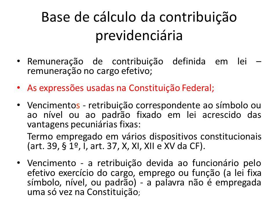 Base de cálculo da contribuição previdenciária