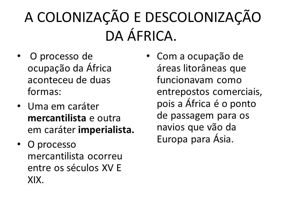 A COLONIZAÇÃO E DESCOLONIZAÇÃO DA ÁFRICA.