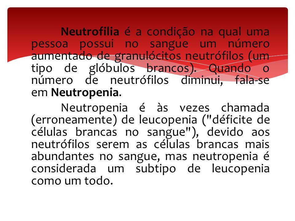 Neutrofilia é a condição na qual uma pessoa possui no sangue um número aumentado de granulócitos neutrófilos (um tipo de glóbulos brancos).