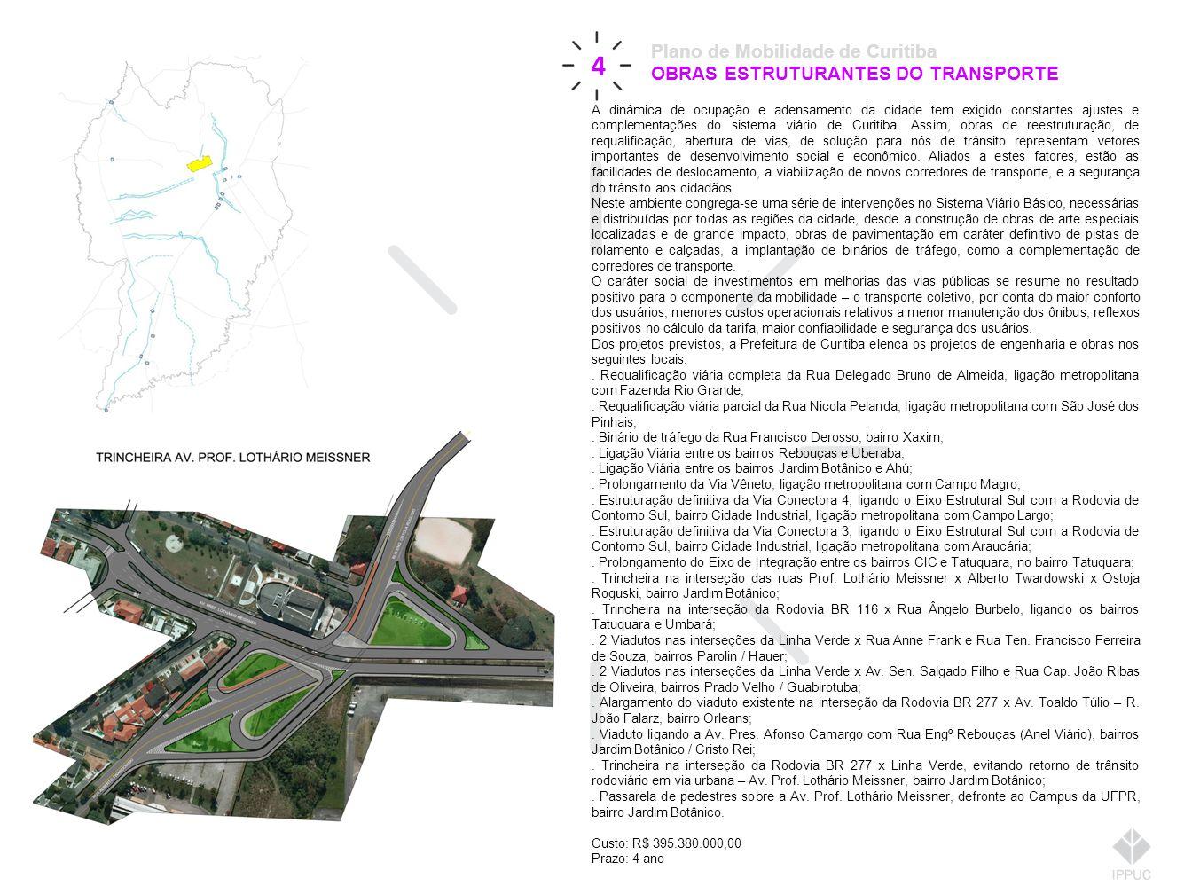 4 Plano de Mobilidade de Curitiba OBRAS ESTRUTURANTES DO TRANSPORTE