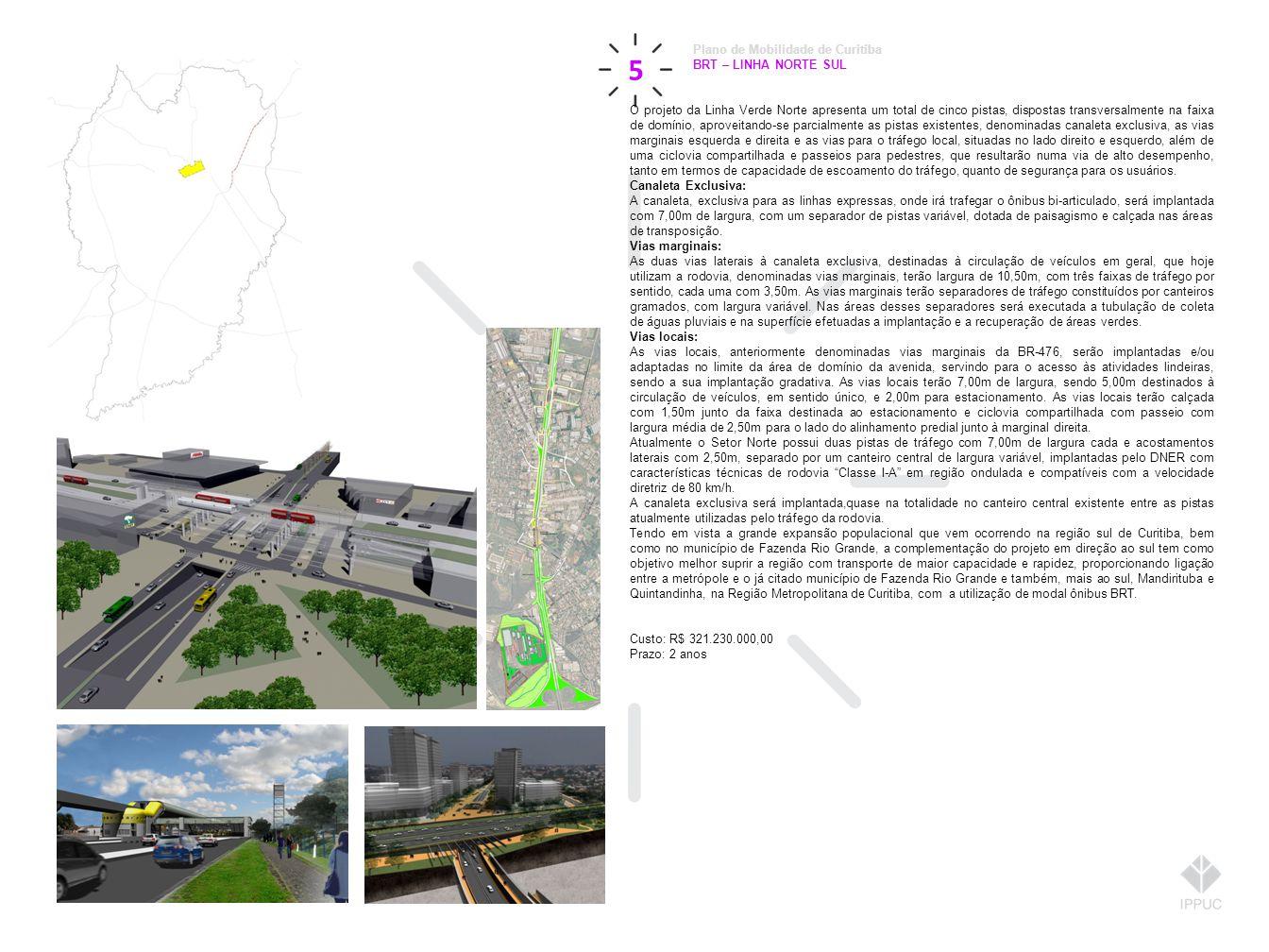 5 Plano de Mobilidade de Curitiba BRT – LINHA NORTE SUL