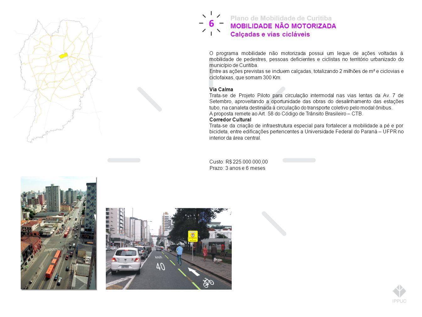 6 Plano de Mobilidade de Curitiba MOBILIDADE NÃO MOTORIZADA