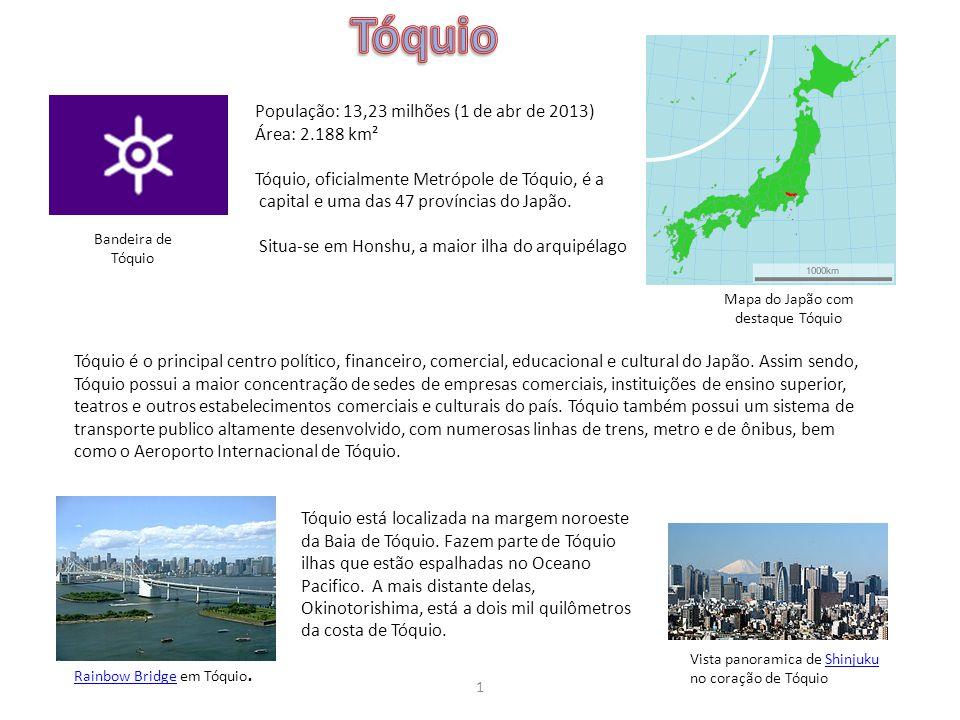 Tóquio População: 13,23 milhões (1 de abr de 2013) Área: 2.188 km²