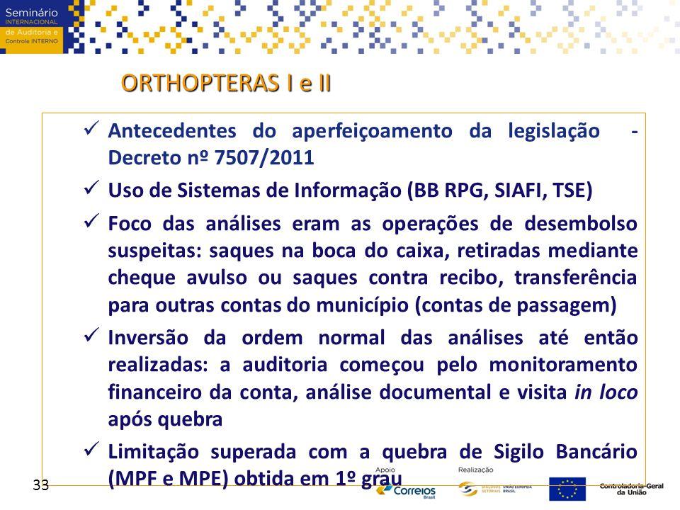 ORTHOPTERAS I e II Antecedentes do aperfeiçoamento da legislação - Decreto nº 7507/2011. Uso de Sistemas de Informação (BB RPG, SIAFI, TSE)