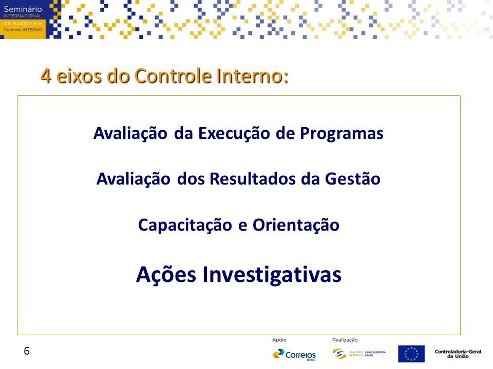 Ações Investigativas 4 eixos do Controle Interno: