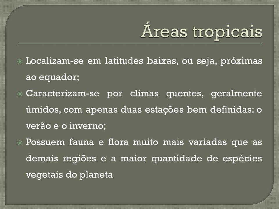 Áreas tropicais Localizam-se em latitudes baixas, ou seja, próximas ao equador;