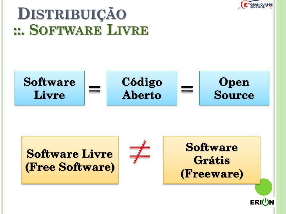 Distribuição ::. Software Livre Software Livre Código Aberto