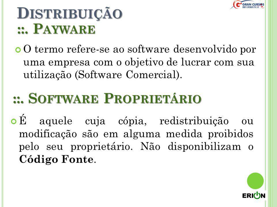 Distribuição ::. Payware ::. Software Proprietário