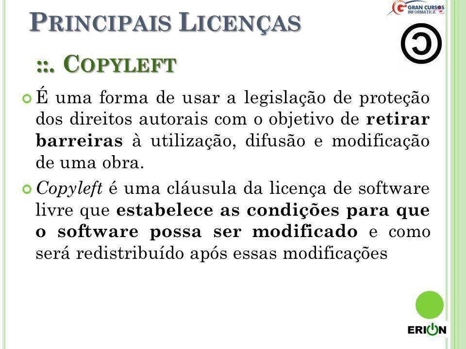 Principais Licenças ::. Copyleft