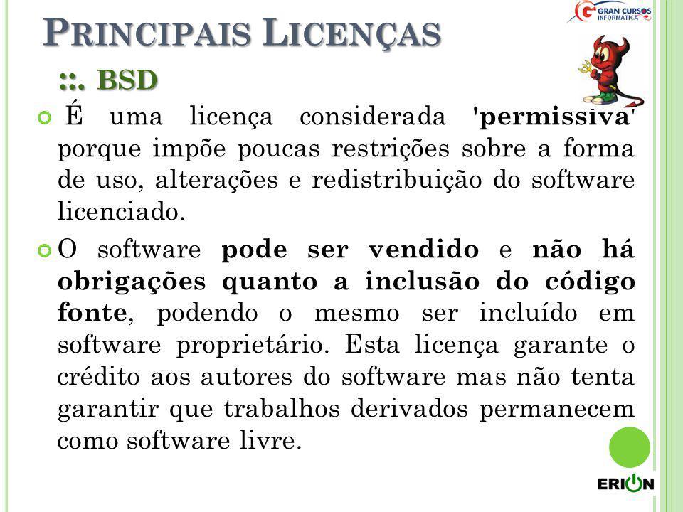 Principais Licenças ::. bsd