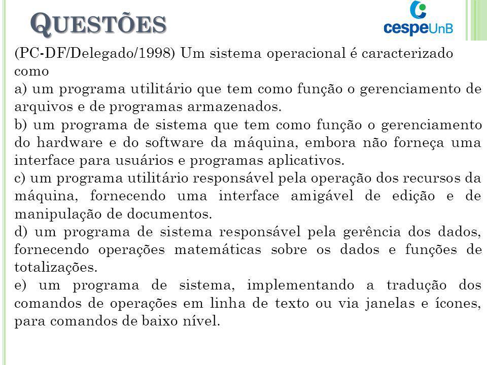 Questões (PC-DF/Delegado/1998) Um sistema operacional é caracterizado como.