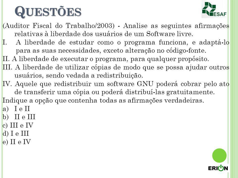 Questões (Auditor Fiscal do Trabalho/2003) - Analise as seguintes afirmações relativas à liberdade dos usuários de um Software livre.