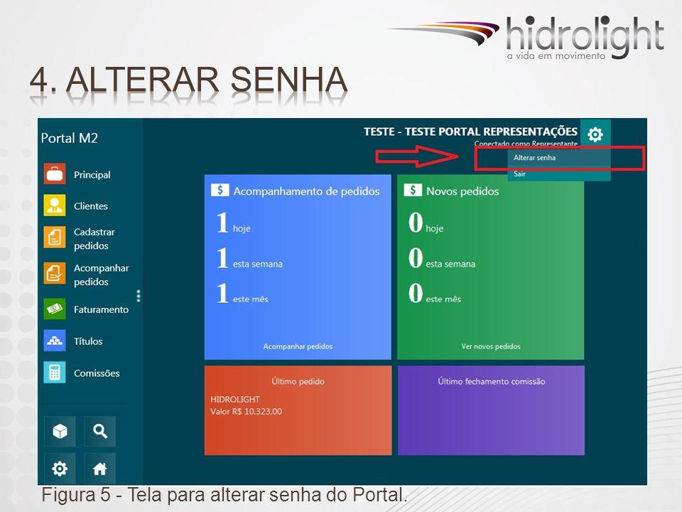 4. ALTERAR SENHA Figura 5 - Tela para alterar senha do Portal.