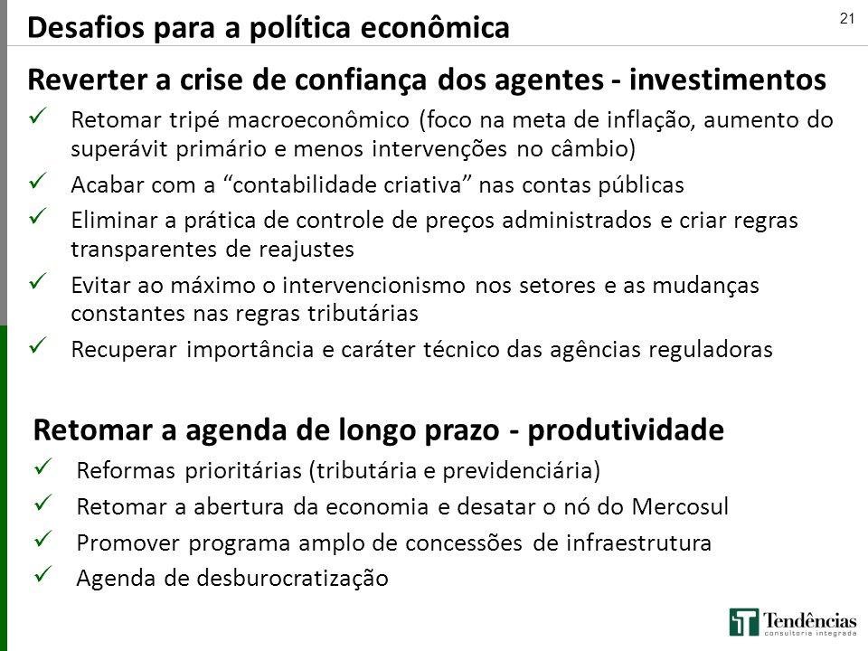 Desafios para a política econômica