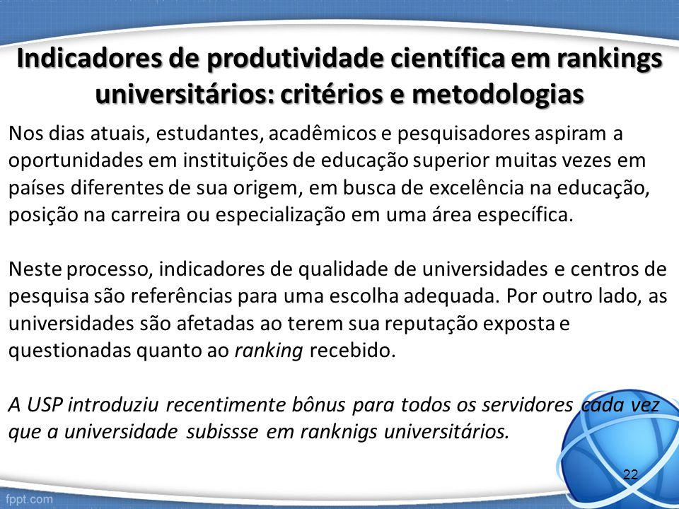 Indicadores de produtividade científica em rankings