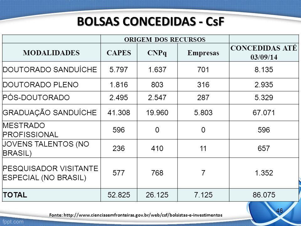 BOLSAS CONCEDIDAS - CsF