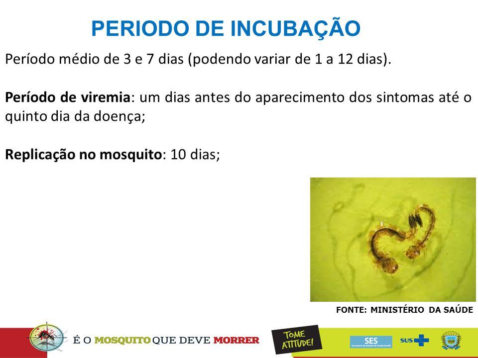 PERIODO DE INCUBAÇÃO Período médio de 3 e 7 dias (podendo variar de 1 a 12 dias).
