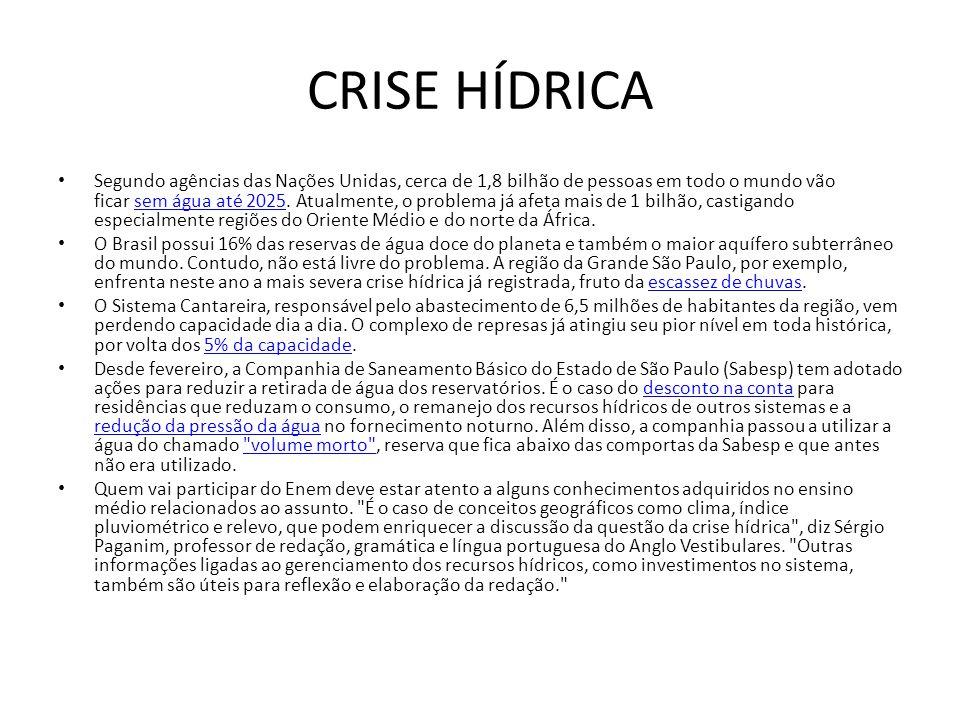 CRISE HÍDRICA