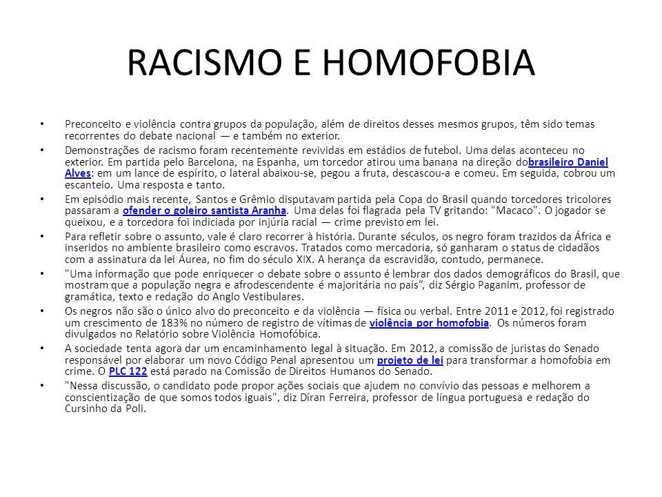 RACISMO E HOMOFOBIA