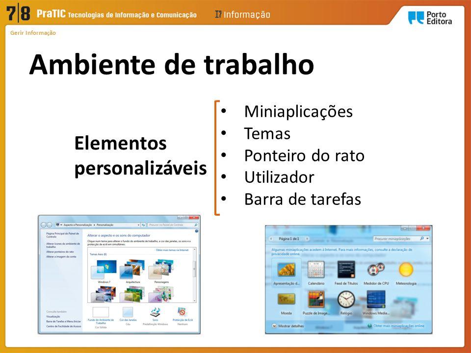 Ambiente de trabalho Elementos personalizáveis Miniaplicações Temas