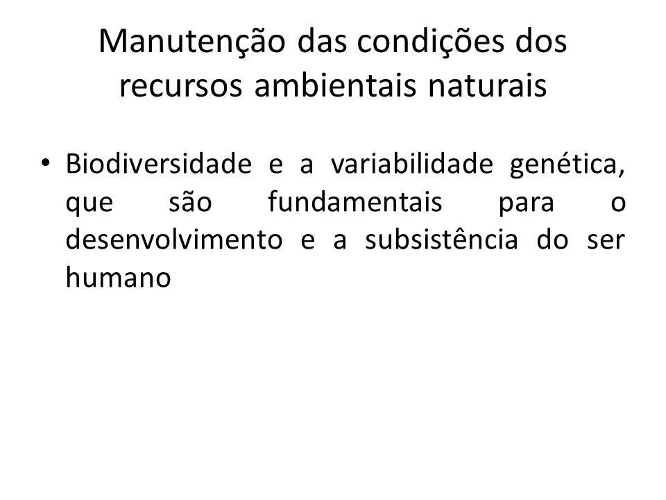 Manutenção das condições dos recursos ambientais naturais