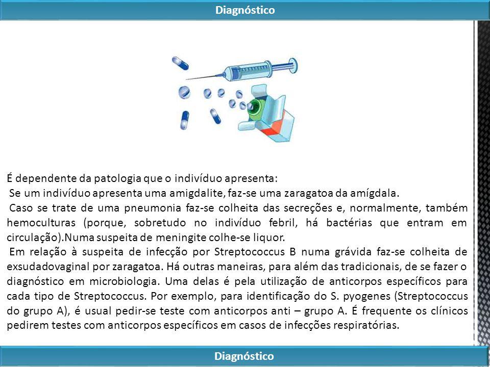 Diagnóstico É dependente da patologia que o indivíduo apresenta: Se um indivíduo apresenta uma amigdalite, faz-se uma zaragatoa da amígdala.