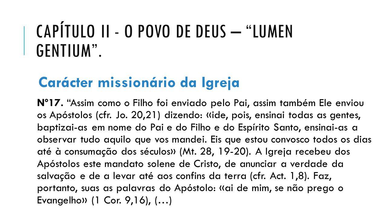 CAPÍTULO II - O POVO DE DEUS – LUMEN GENTIUM .