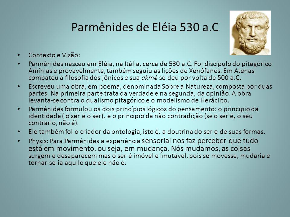 Parmênides de Eléia 530 a.C Contexto e Visão: