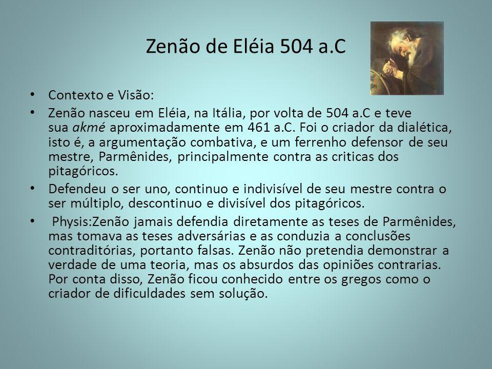 Zenão de Eléia 504 a.C Contexto e Visão: