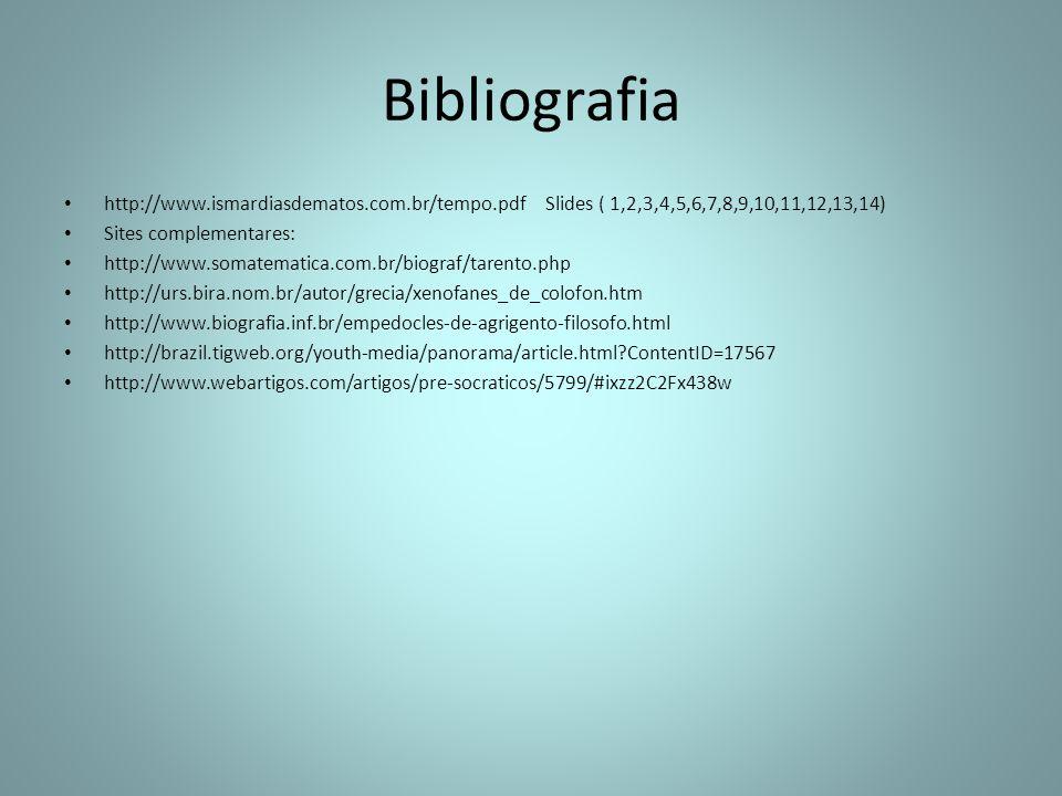 Bibliografia http://www.ismardiasdematos.com.br/tempo.pdf Slides ( 1,2,3,4,5,6,7,8,9,10,11,12,13,14)