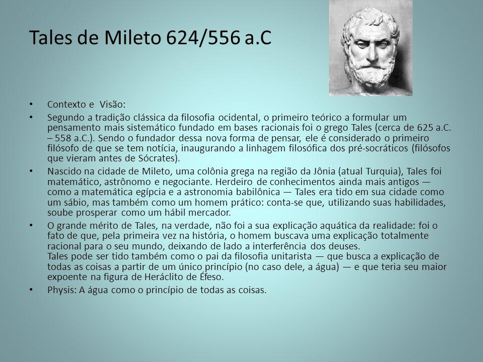 Tales de Mileto 624/556 a.C Contexto e Visão: