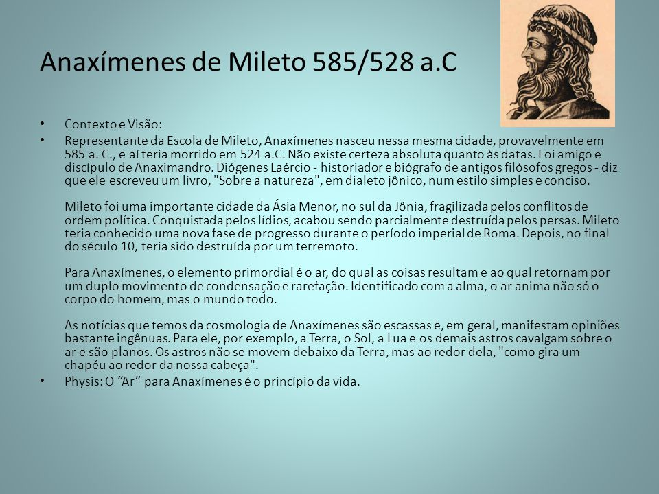 Anaxímenes de Mileto 585/528 a.C