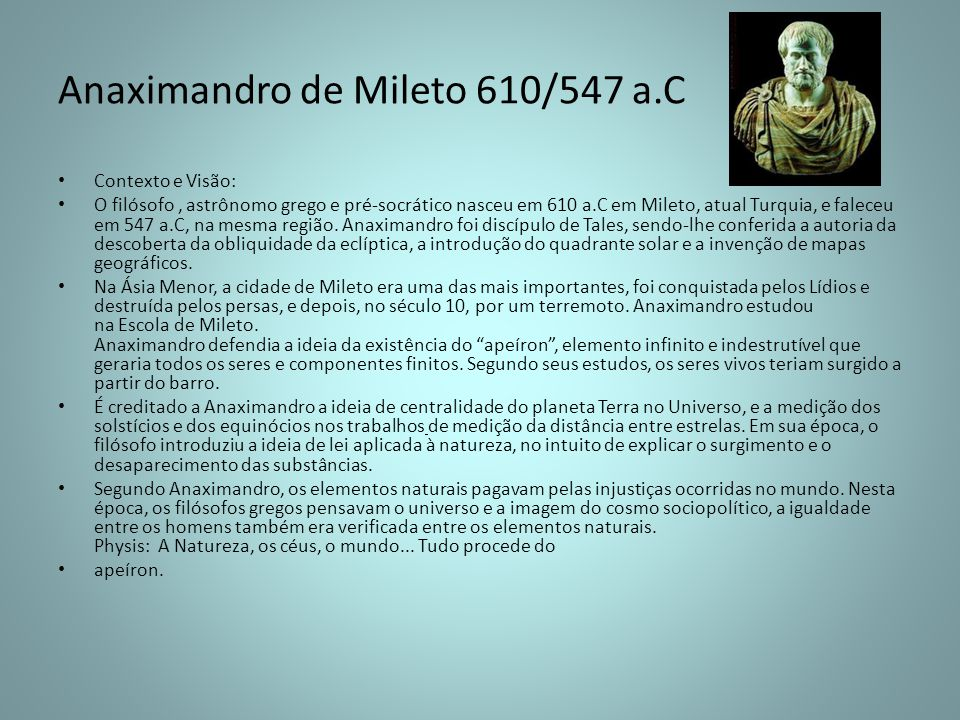 Anaximandro de Mileto 610/547 a.C